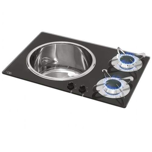 CAN 2 Burner Gas Hob with Sink - Crystal Finish