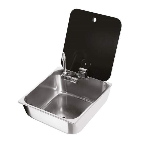 RVSC Rectangular Stainless Steel Sink with Glass Lid (incl Tap)