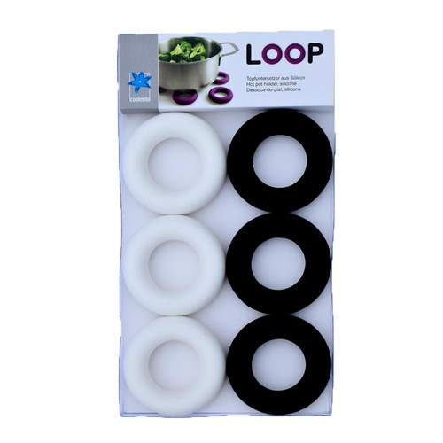 Loop Black and White 6 Egg Cups And/Or Pot Stands