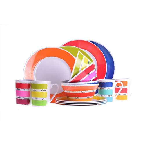 Melamine Essentials Colour Works 16pc Dinner Set***