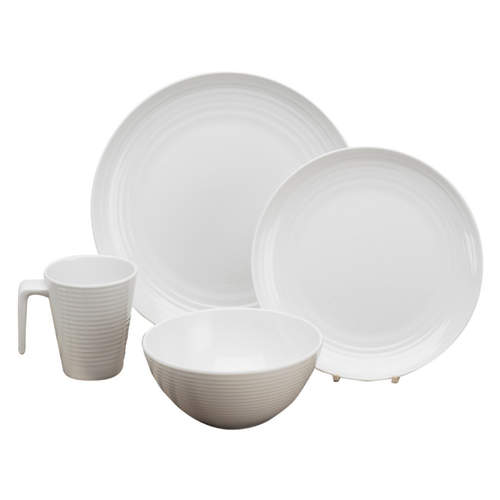 Seramika Melamine Dinner Set - Vanilla (16 piece)