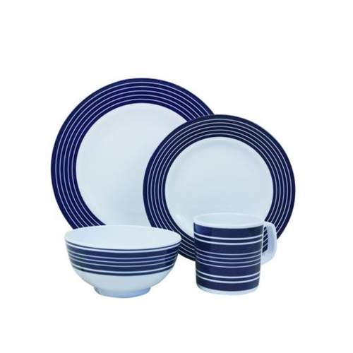 Malamine Essentials Navy Pinstripe 16pcs Dinner Set