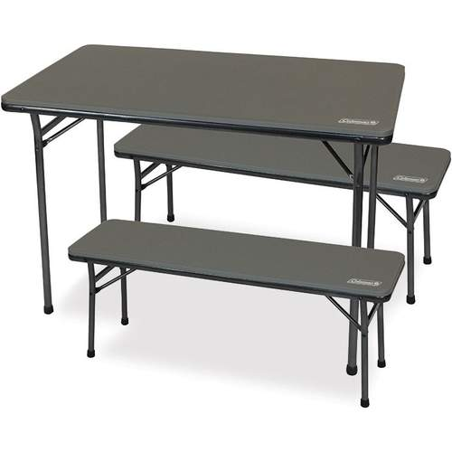 Coleman Folding Table and Bench Set 3Pce