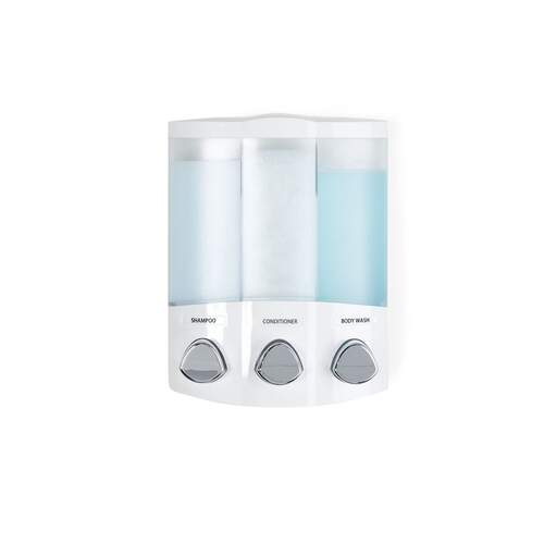 Aviva Trio White Corner Shower Soap Dispenser