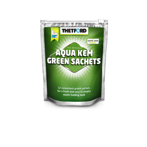 Thetford Aqua Kem Green 12 Sachet Zip Bag Toilet Chemical