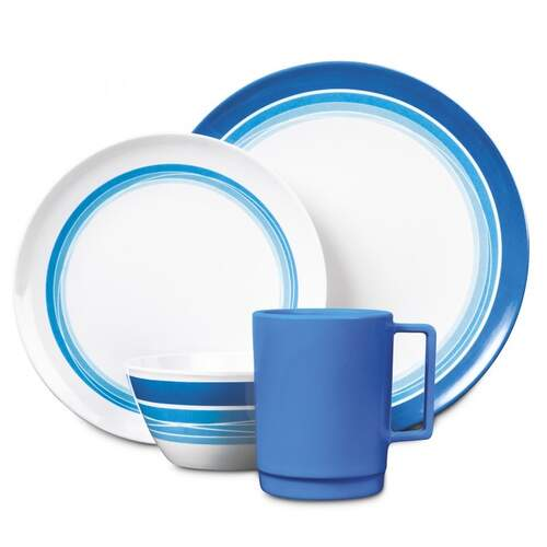 Campfire Melamine 16pc Dinner Set - Ocean Blue