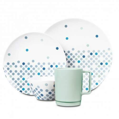 Campfire Melamine 16 Piece Dinner Set  - Pebble