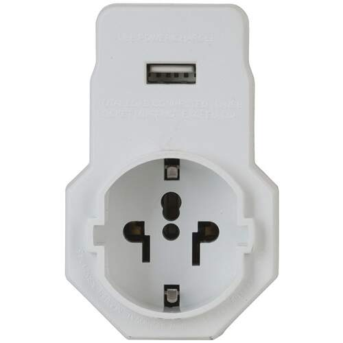 Powertech NZ Travel Adaptor with USB for Europe and Asia Devices