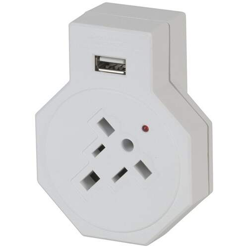 Powertech NZ Travel Adaptor with USB for USA and UK Devices