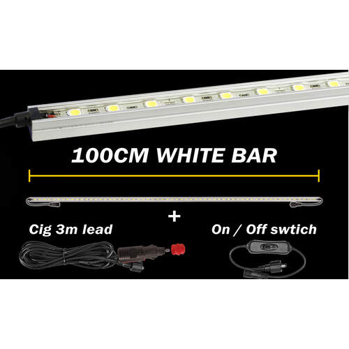 Korr Lighting White LED Light Bar with 12v Lead and Switch - 100cm