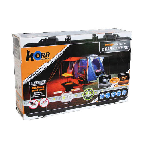 Korr Lighting 2 LED Bar Camping Kit - Orange and White
