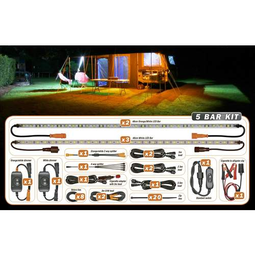 Korr Lighting 5 LED Bar Camping Kit - Orange and White
