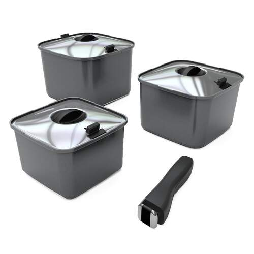 Smartspace 3 Pots With Lid, 1 Handle Cookware