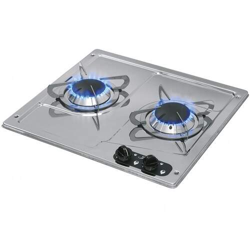 CAN 2 Burner Gas Hob Stainless Steel Marine