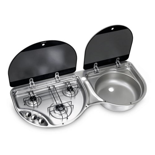 Dometic 3 Burner Hob/RH Sink Combo with Glass Lid