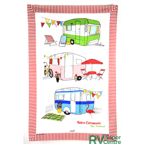 Derek Retro Caravans Tea Towel